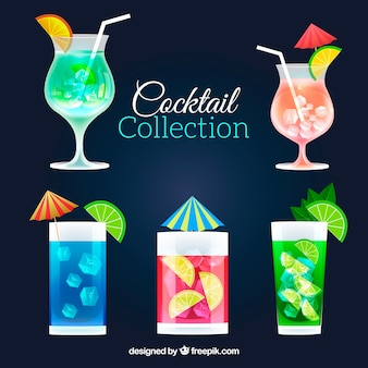 Collection of cocktail in flat design