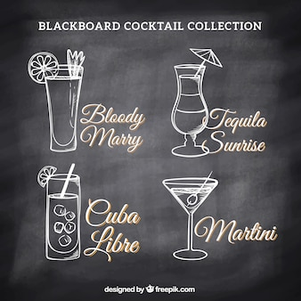 Collection of cocktails drawings on a blackboard