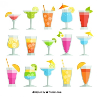 Collection of cocktails for summer
