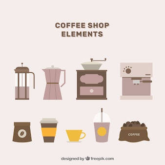 Collection of coffee objects in flat design
