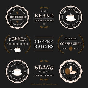 Collection of coffee stickers and badges