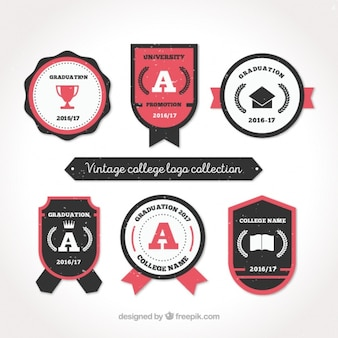 Collection of college logos in retro style