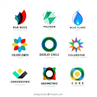 Collection of colored abstract shapes logotype