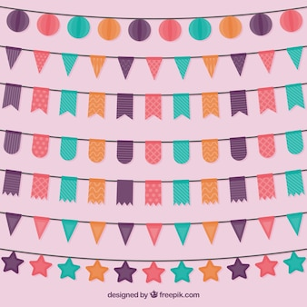 Collection of colored birthday garlands