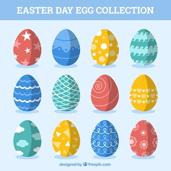 Collection of colored easter eggs