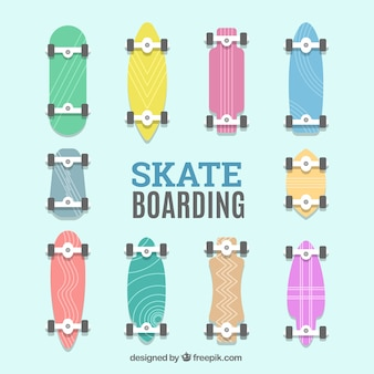 Collection of colored flat skateboard