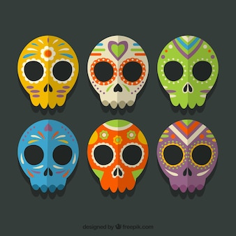 Collection of colored mexican skulls