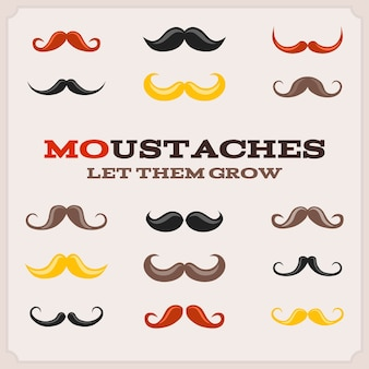 Collection of colored movember moustaches