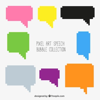 Collection of colored speech balloons in pixel art style
