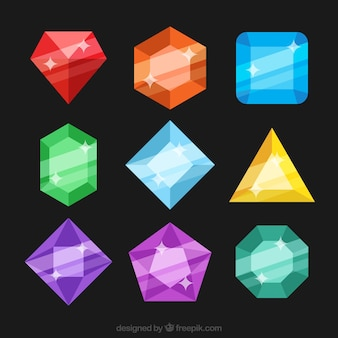 Collection of colored stones in flat design