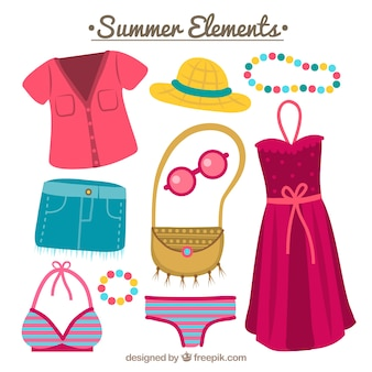 Collection of colored summer accessories