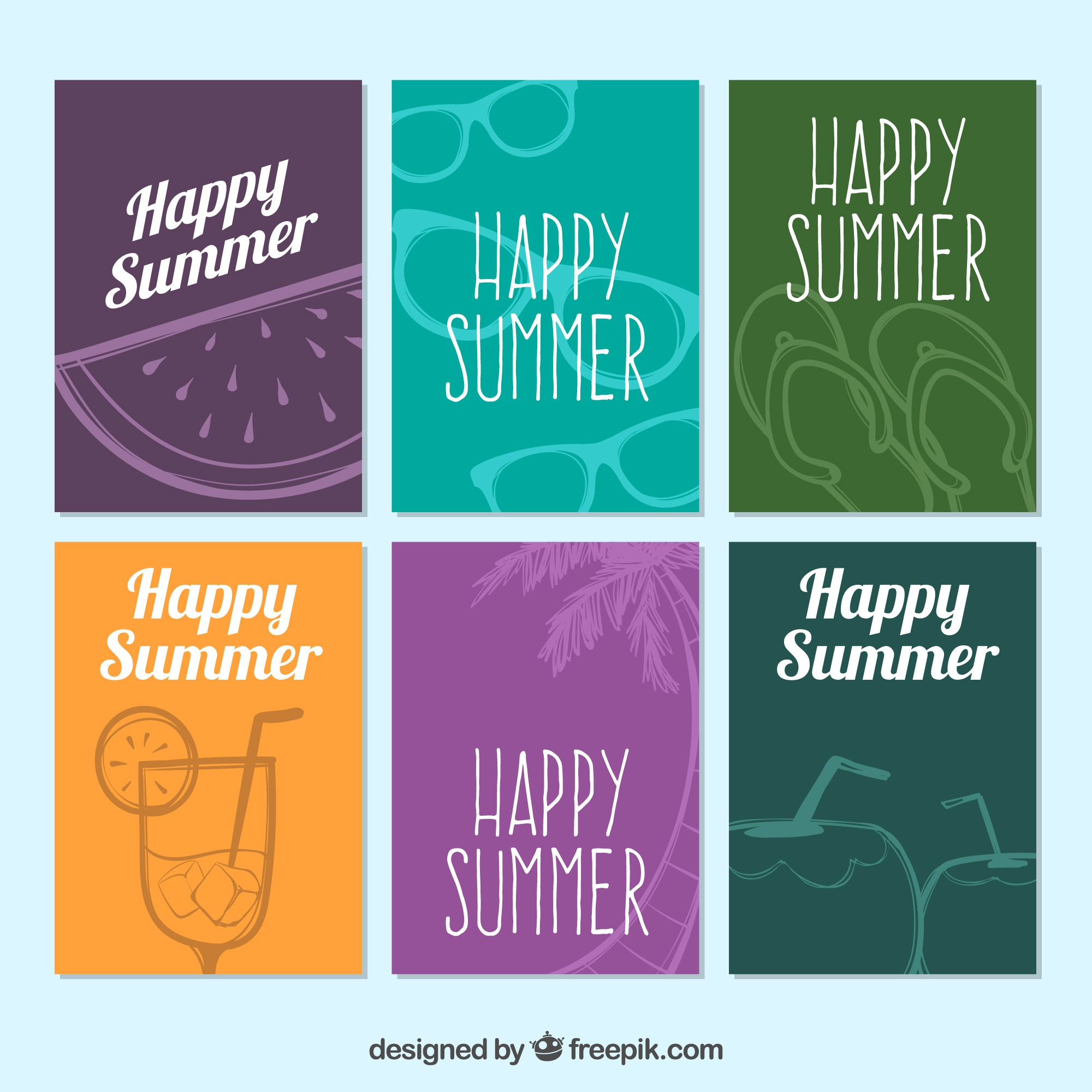 Collection of colored summer cards