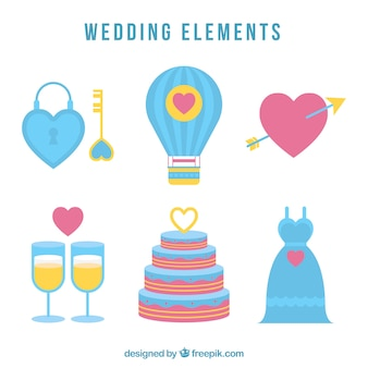 Collection of colored wedding objects