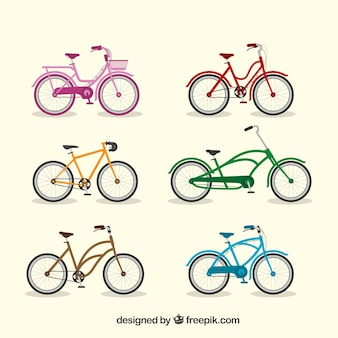 Collection of colorful bikes in flat design