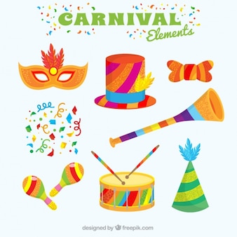 Collection of colorful carnival elements