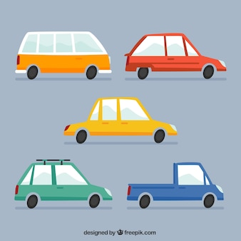 Collection of colorful cars in vintage style