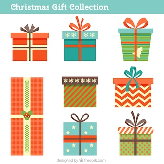 Collection of colorful christmas gifts with different designs