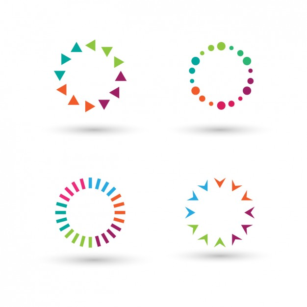 Collection of colorful circles made with polygons