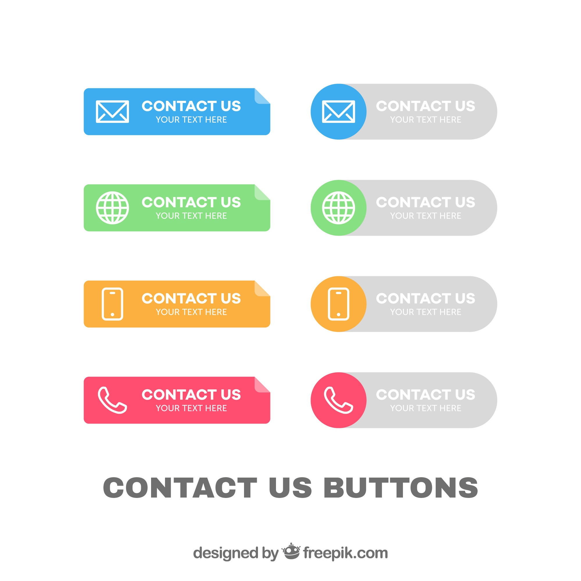 Collection of colorful contact buttons