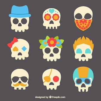 Collection of colorful creative skulls
