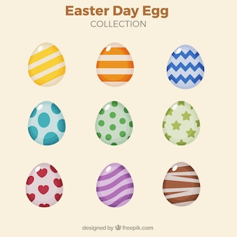Collection of colorful eggs with abstract designs