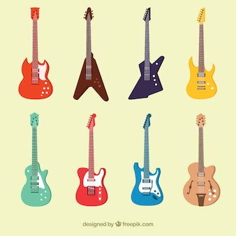 カラフルなエレクトリックギターのコレクション