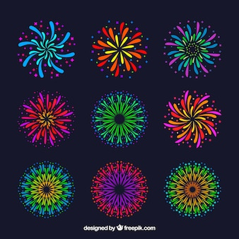 Collection of colorful fireworks