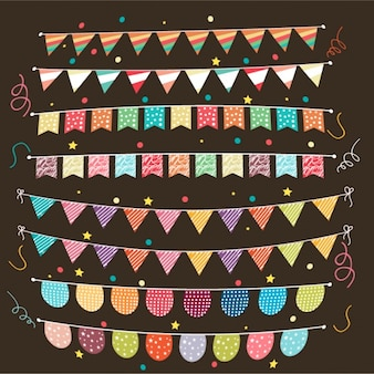 Collection of colorful garlands for carnival