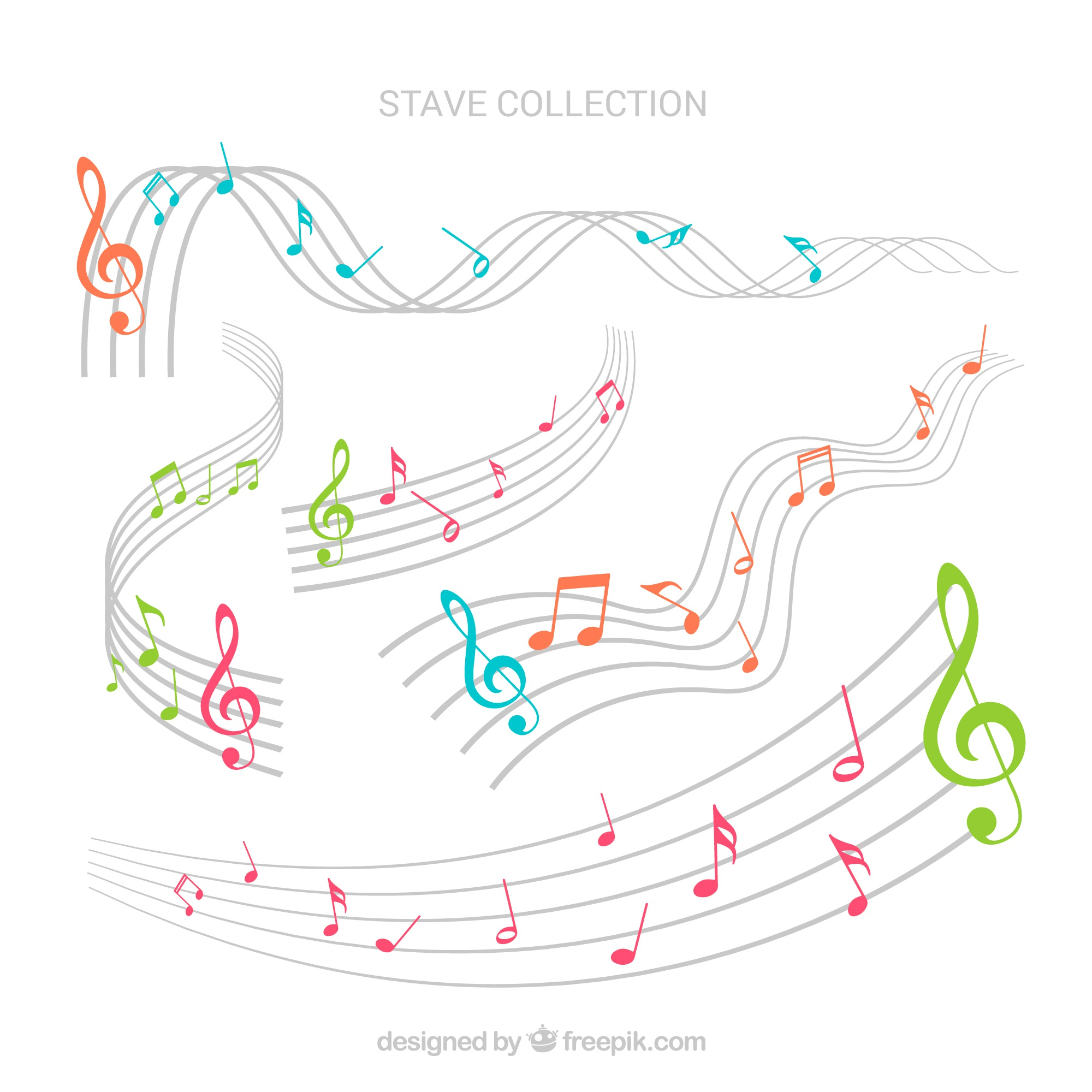 Collection of colorful musical notes and staves