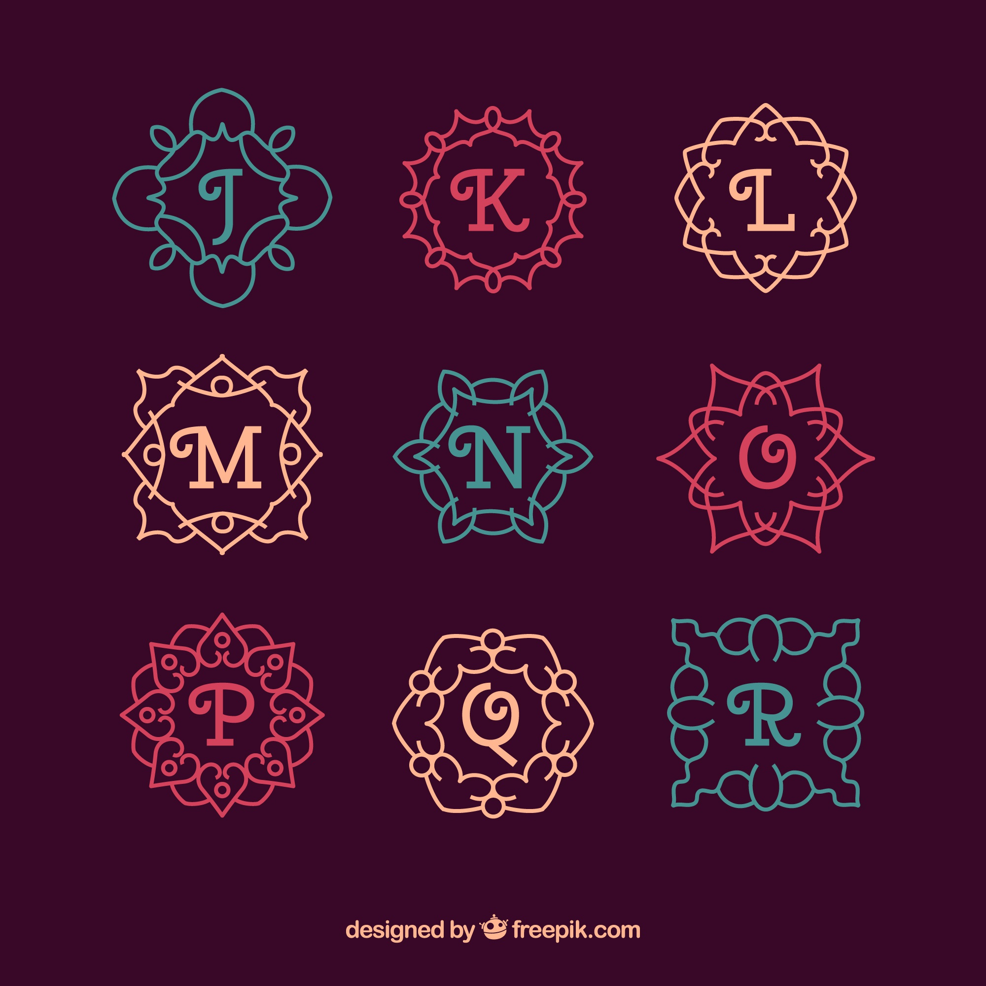 Collection of colorful ornamental monograms