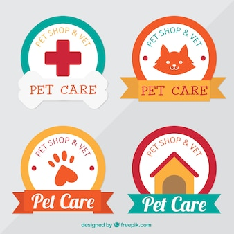 Collection of colorful pet shop stickers