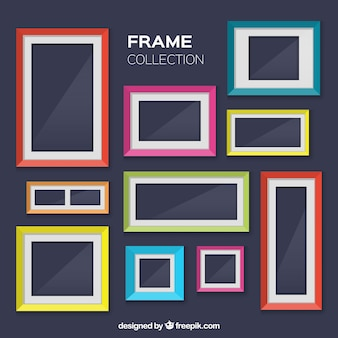 Collection of colorful photo frames in flat design