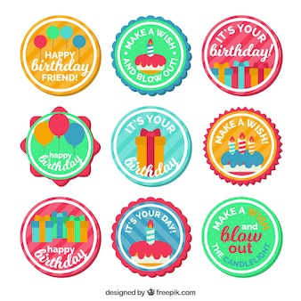 Collection of colorful retro birthday stickers