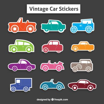 Collection of colorful retro car stickers