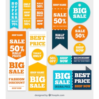 Collection of colorful sale banners