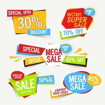 Collection of colorful sale labels