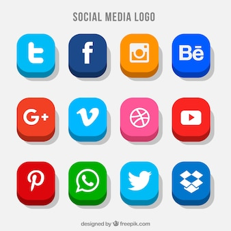 Collection of colorful social media buttons