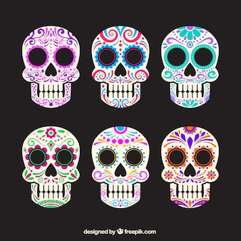 Collection of colorful sugar skulls