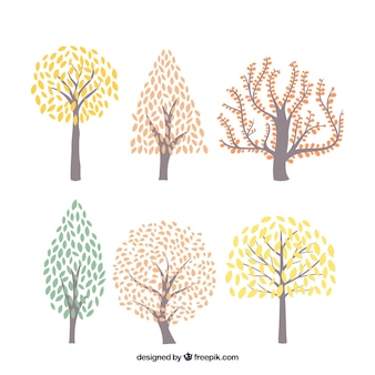 Collection of colorful trees hand drawn