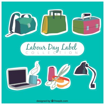 Collection of colour stickers for labour day