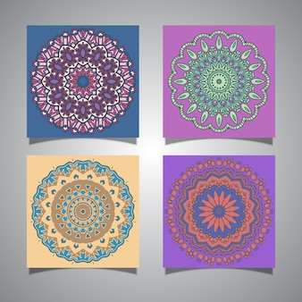 Collection of colourful mandala designs