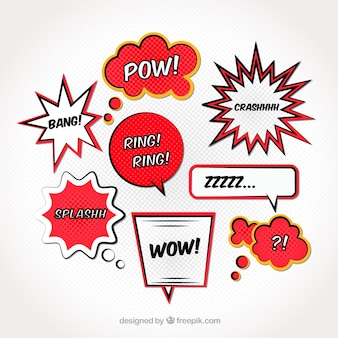Collection of comic dialog balloons