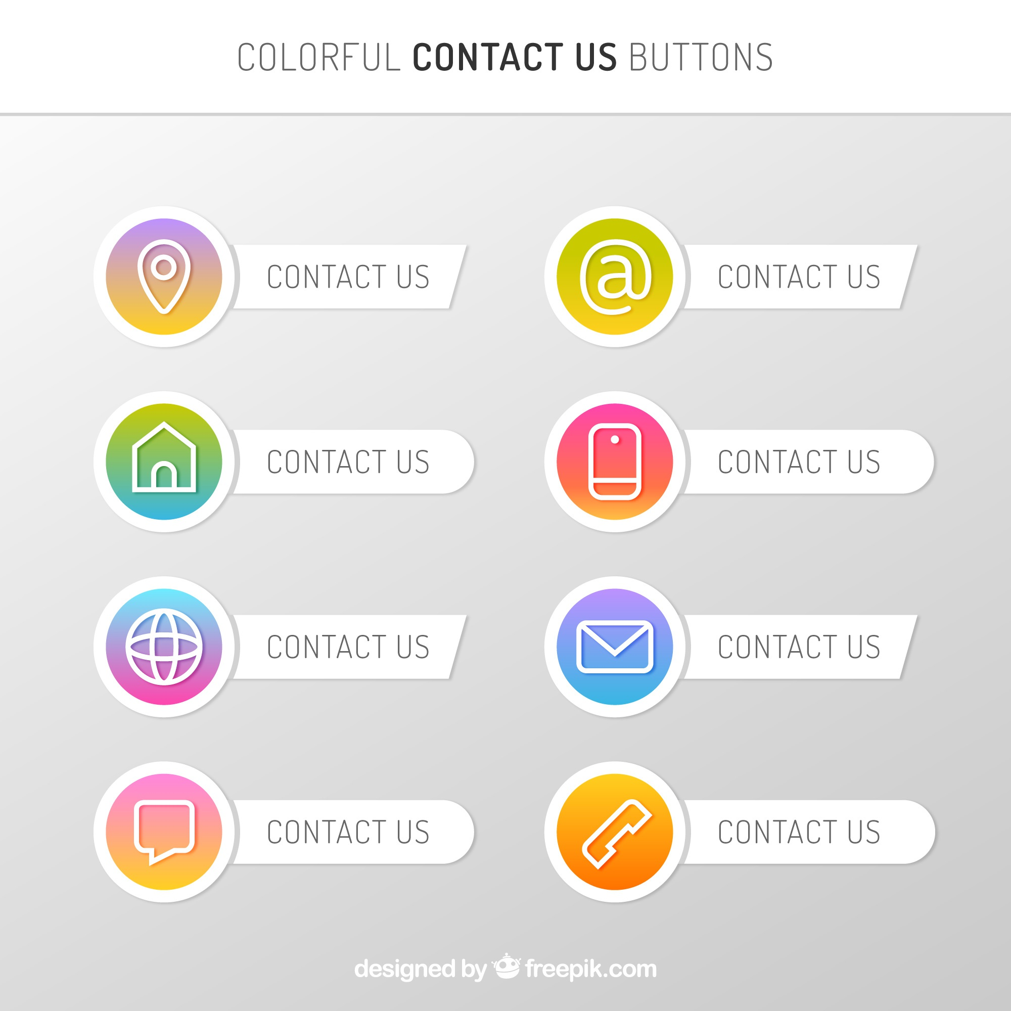 Collection of contact buttons with gradient