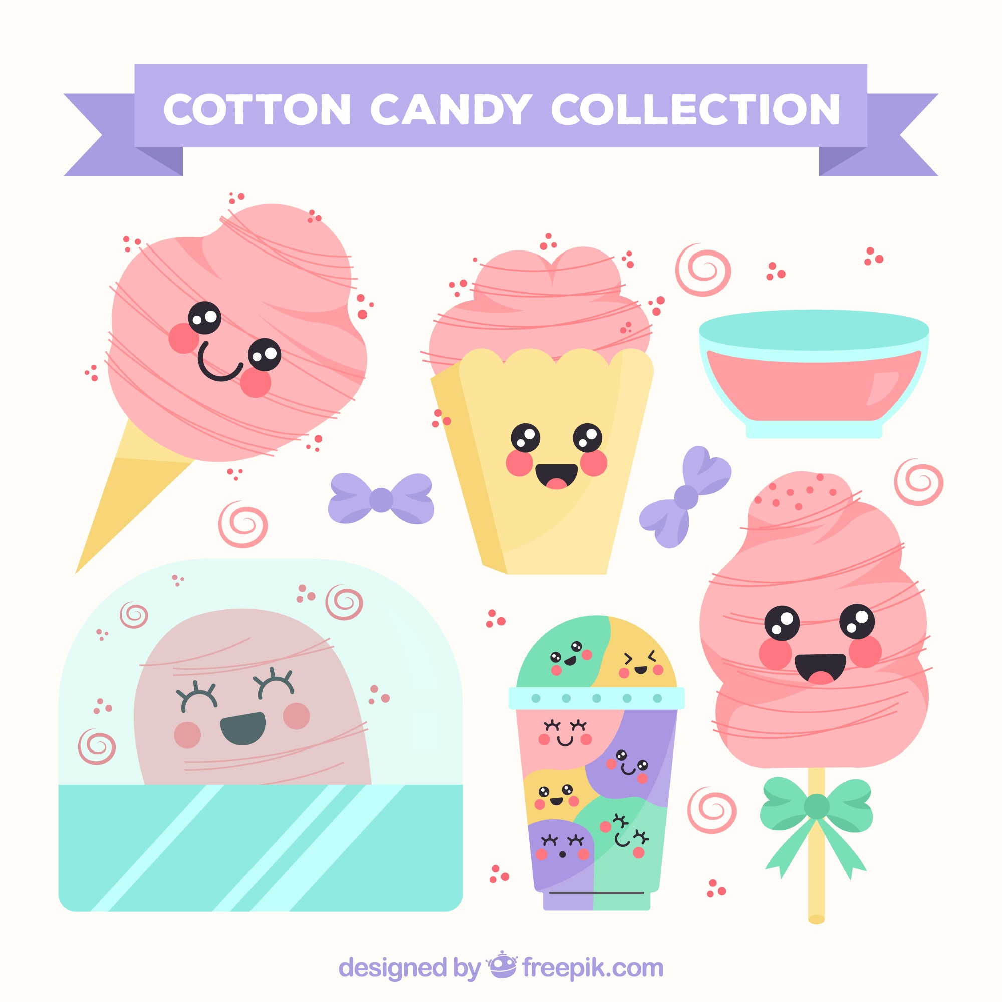 Collection of cotton candy with smiley faces