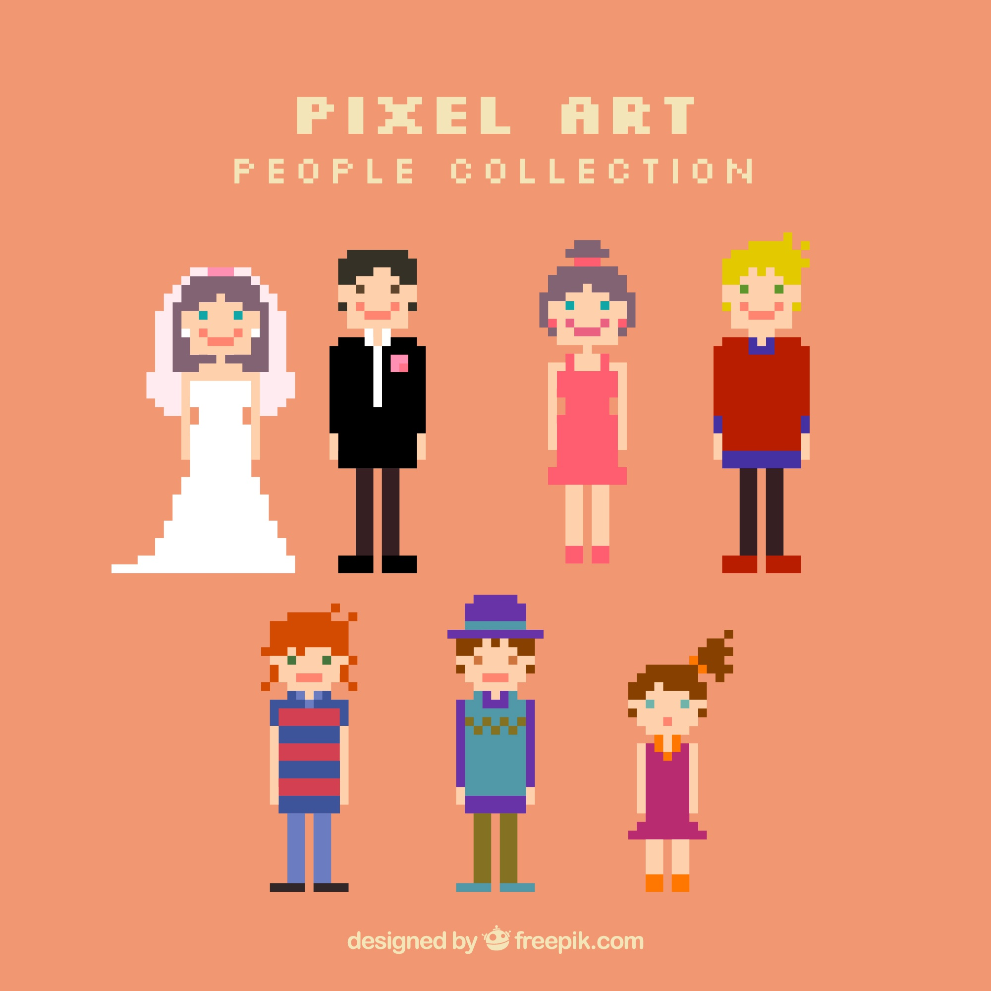 Collection of couples and children in pixel art style