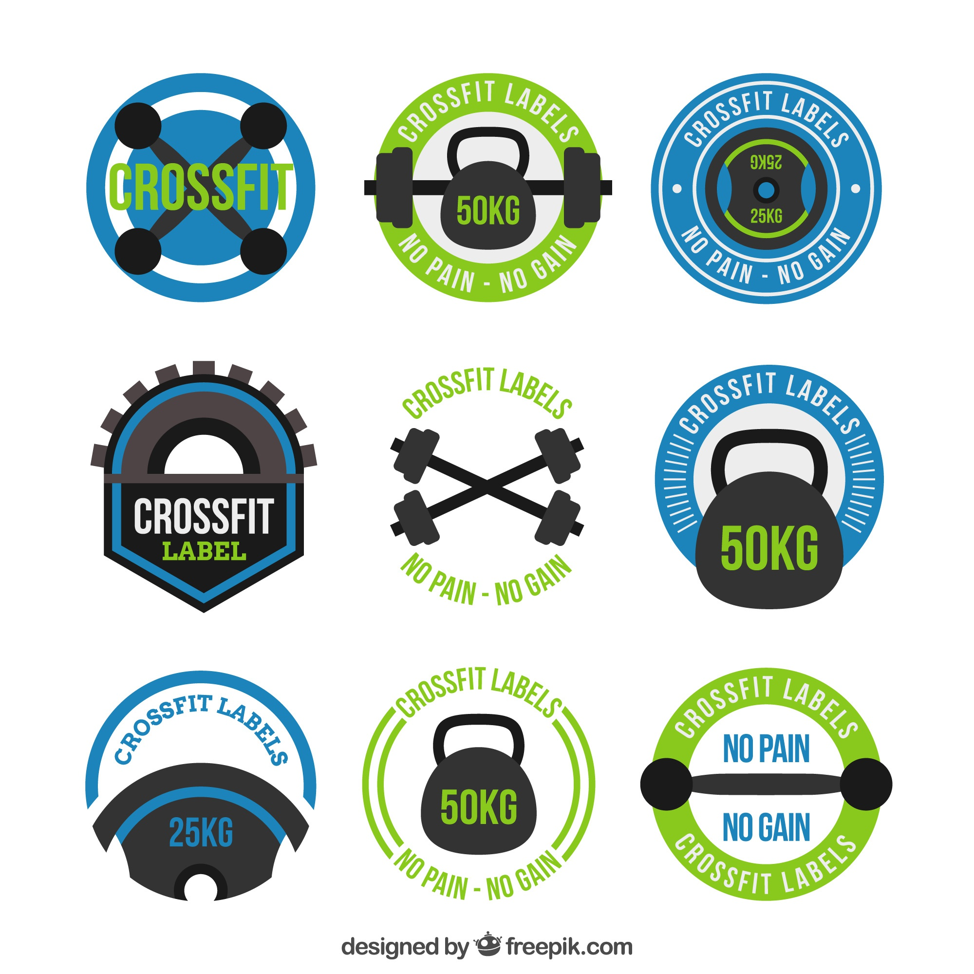 Collection of crossfit stickers