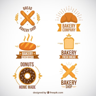 Collection of cute bakery logotype