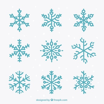 Collection of cute blue snowflakes