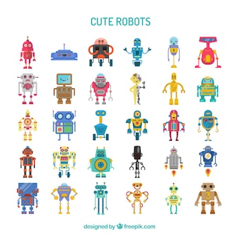 Collection of cute colorful robots