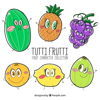 Collection of cute fruit characters